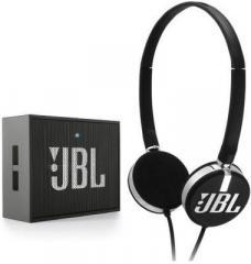 JBL Combo of T26c On Ear Wired Headphone & GO Wireless Bluetooth Mobile/Tablet Speaker