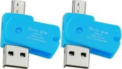 Oxza Pack of 2 USB 2.0 TWO IN ONE Micro SD OTG ADAPTOR Card Reader