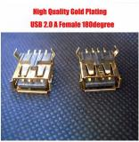 WowObjects 5pcs High Quality Gold Plating USB 2.0 A Female 180 degree 4P 2.0 USB Connector Printer interface