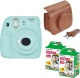 Fujifilm Mini 9 Ice Blue With Brown Case 40 Shots Instant Camera