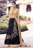 Desi Look Black Embroidered Dress Material Women