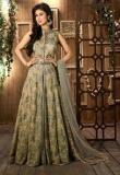 Desi Look Olive Georgette Embroidered Dress Material With Dupatta