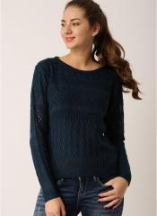 9e3fb4c75 Dressberry Navy Blue Self Pattern Sweater for women price in India ...