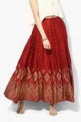 65bfe7ef66 Global Desi Maroon Flared Skirt for women price in India on 5th July ...