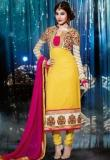 Inddus Yellow Embroidered Dress Material Women