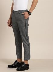 Invictus Black Slim Fit Checked Regular Cropped Trousers men