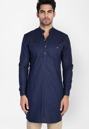 Mr button solid blue ethnic jacket men best price in india for Linen shirts for mens in chennai