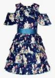 Naughty Ninos Navy Blue Printed Casual Dress Girls