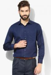 Peter England Blue Solid Slim Fit Formal Shirt men