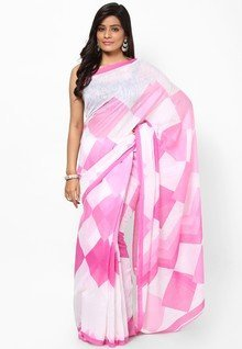 Price-Hunt for best Sattika Cotton Blend White Saree Women price in