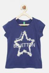 United Colors Of Benetton Navy Blue Printed Polo T Shirt girls