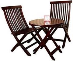 b791405ae0eb ... Seater Dining Set. Allie Wood Sheesham Wooden PU Polish Mahogany Finish  2 Folding Chair and Round Table Solid Wood
