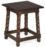 @home Ornate Square Stool With Walnut Finish