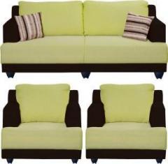 Bharat Lifestyle Marina Fabric 3 1 1 Dark Brown And Green Sofa Set