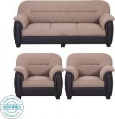 439a33c9ed Bharat Lifestyle New Sagittarius Leatherette and Fabric 3 + 1 + 1 Cream  Brown Sofa Set