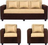 Bharat Lifestyle Tulip311 Solid Wood 3 + 1 + 1 Brown Sofa Set