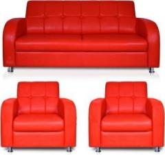 Dolphin Atlanta Leatherette 2 + 1 + 1 Red Sofa Set