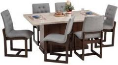 Durian Catherine White Stone 6 Seater Dining Table