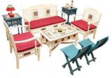 ExclusiveLane Teak Wood Living Room Set In Creamish White Finish