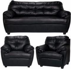 Fabhomedecor Rosabelle Comfy Leatherette 3 1 Black Sofa Set