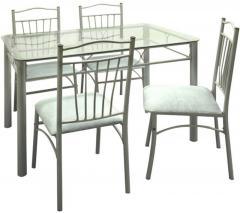 ... Dining Sets > FurnitureKraft Four Seater Dining Set w Glass Top Table