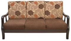 HomeTown Phoenix Solidwood Three Seater Sofa in Brown Colour