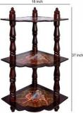 Lal Haveli Hand Painted 3 Tier Shelf Bed Side / End Solid Wood Corner Table