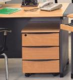 Stellar Beech Dark Grey Mobile Pedestal With 3 Drawers