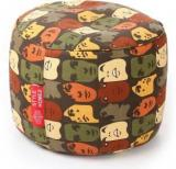 Style Homez Large Round Cotton Canvas Abstract Printed Ottoman L Sizewith Beans Bean Bag Footstool With Bean Filling