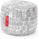 Style Homez Large Round Cotton Canvas Newspaper Printed Ottoman L Sizewith Beans Bean Bag Footstool With Bean Filling