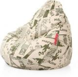 Style Homez XXL Classic Cotton Canvas Abstract Printed XXL Sizewith Beans Teardrop Bean Bag With Bean Filling