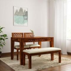 eaf4348798 The Attic Jasmine Upholstered Sheesham Solid Wood 4 Seater Dining Set