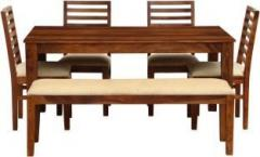 be8939d490 The Attic Morocco Upholstered Sheesham Solid Wood 6 Seater Dining Set