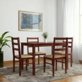 Woodness Winston Upholstered Solid Wood 4 Seater Dining Set