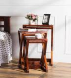 Woodsworth Burgdorf Solid Wood Set Of Tables In Honey Oak Finish