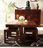 Woodsworth Colville Sheesham Wood Coffee Table Set In Provincial Teak Finish