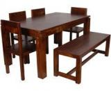Woodsworth Goinia Solid Wood Six Seater Dining Set In Provincial Teak Finish
