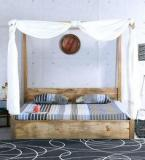 Woodsworth Ilwaco King Size Poster Bed With Storage In Natural Finish