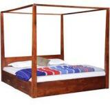 Woodsworth Kentridge Solid Wood King Size Poster Bed In Honey Oak Finish