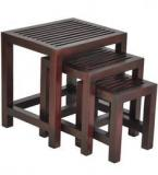 Woodsworth Leon Solid Wood Set Of Tables In Passion Mahagony Finish
