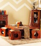 Woodsworth Lynden Sheesham Wood Coffee Table Set In Provincial Teak Finish