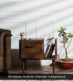 Woodsworth Nexo Knight Wireless Charging End Table With Right Book Shelf In Premium Acacia Finish