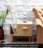 Woodsworth Nexo Wireless Charging End Table With Left Book Shelf In Natural Finish