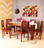 Woodsworth Oregon Solid Wood Six Seater Dining Set In Provincial Teak Finish