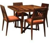 Woodsworth Paloma Solid Wood Four Seater Dining Set In Provincial Teak Finish