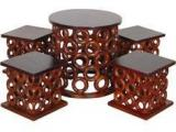 Woodsworth San Luis Round Coffee Table Set In Dual Tone Finish