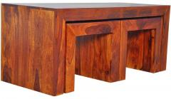 Woodsworth Santiago Solid Wood Coffee Table Set in Colonial Maple Finish