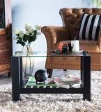 Woodsworth Winona Glass Top Coffee Table In Espresso Walnut Finish