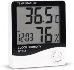Fstyler HTCD Clock 01 Hygrometer Humidity Meter with Temperature and Clock Display Digital Thermometer