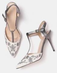 6e3e7d0f689e Dressberry Off White   Grey Embroidered Pumps for women - Get ...